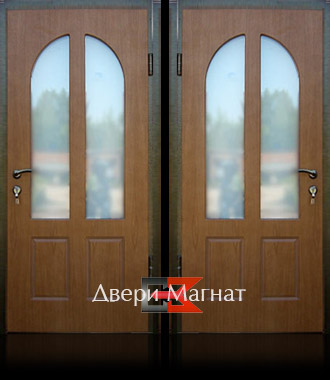 нестандартная железная дверь со стеклом